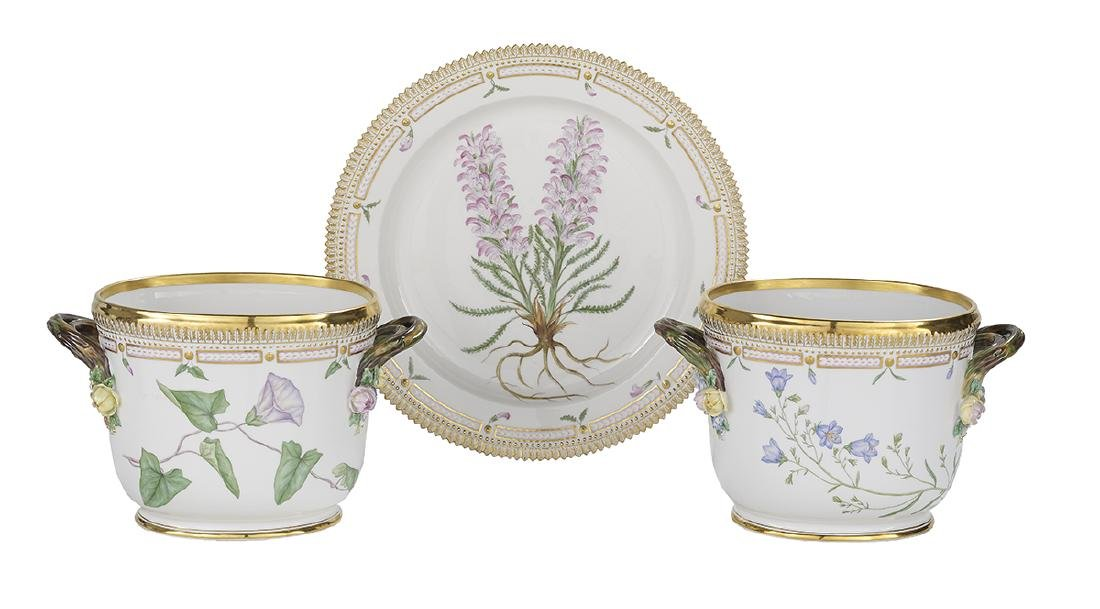 "Pair of  ""Flora Danica"" Wine Coolers & a Platter"