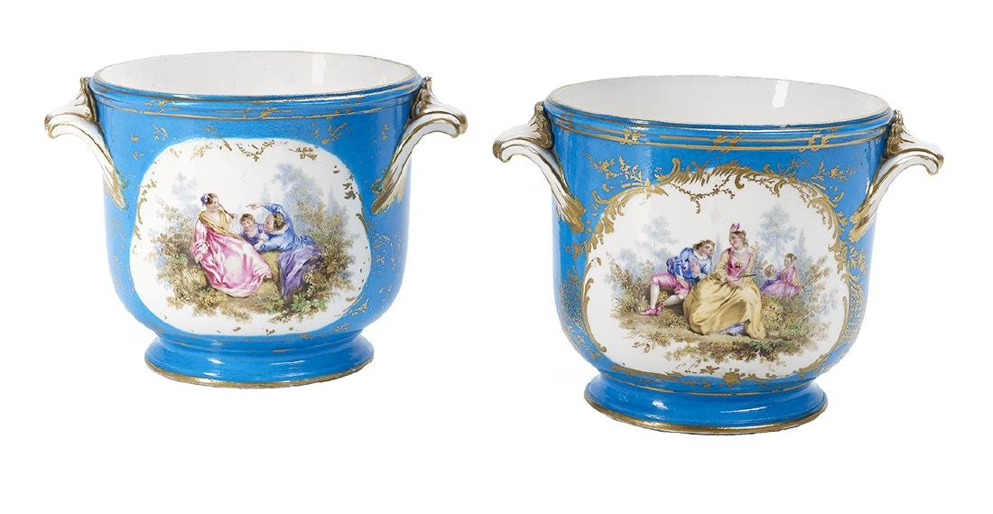 Pair of French Sevres Soft Paste Bottle Coolers