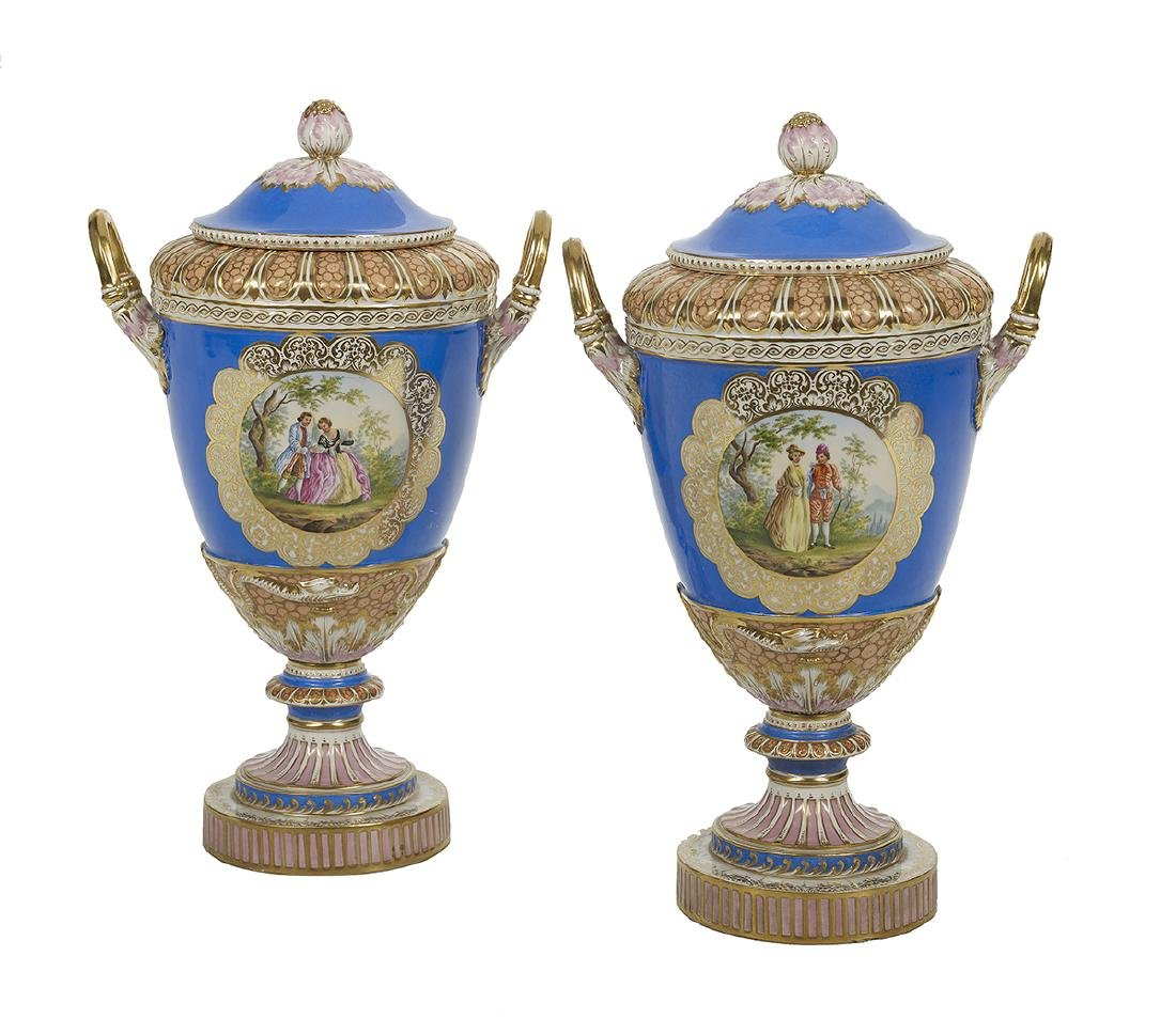 Pair of German KPM Covered Vases
