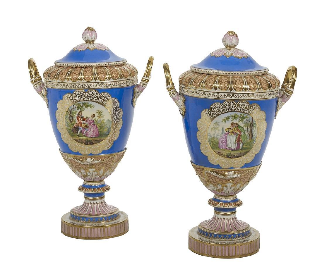 Pair of German KPM Covered Vases - 2