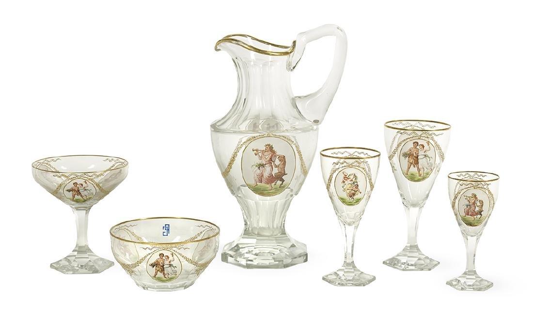 Bohemian Enamel-Decorated Glassware Service