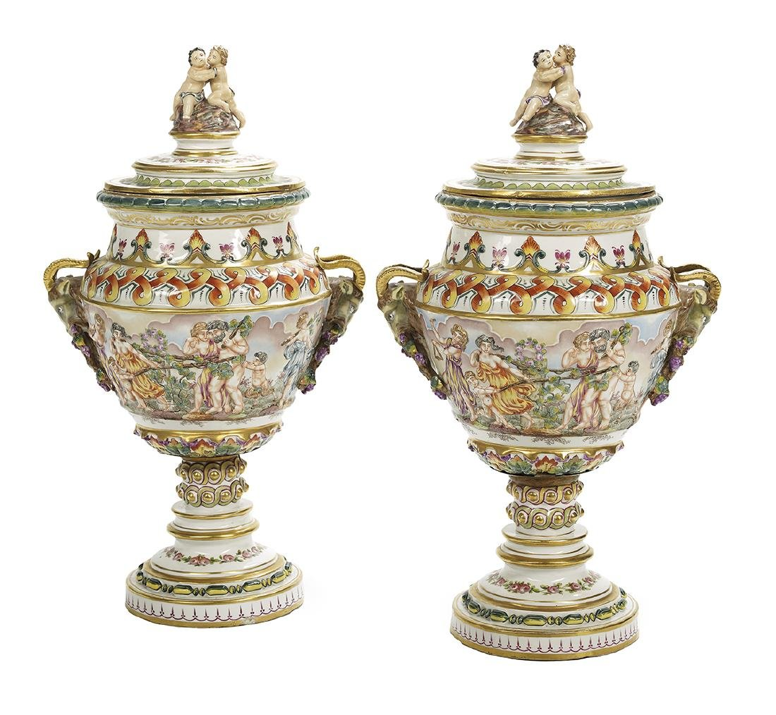 Pair of Large French Capodimonte Covered Vases