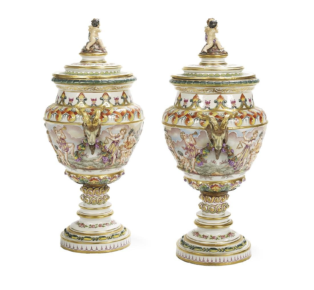 Pair of Large French Capodimonte Covered Vases - 2