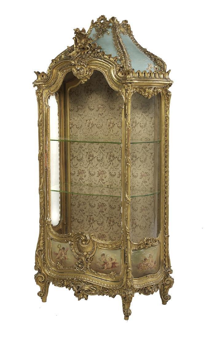 Louis XV-Style Giltwood Vitrine