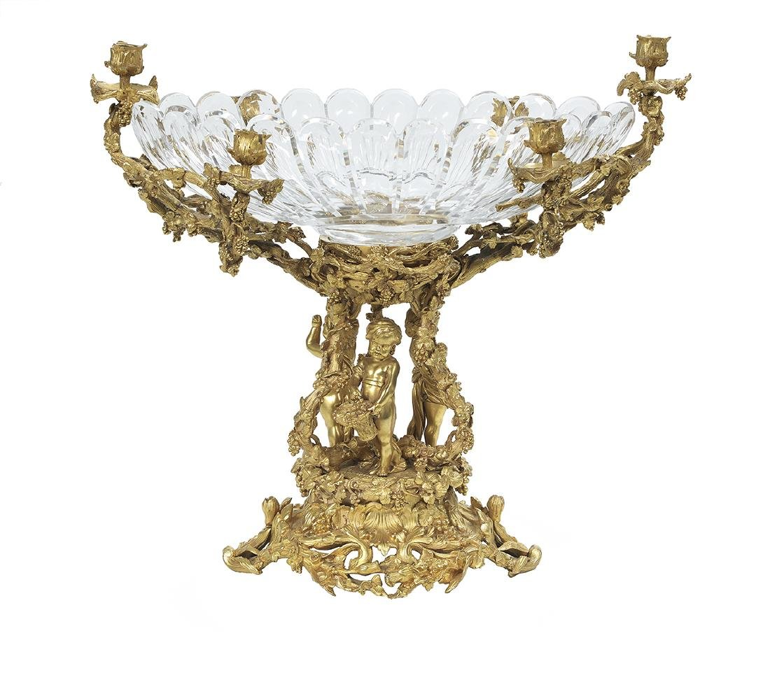 French Gilt-Bronze and Cut Glass Centerpiece