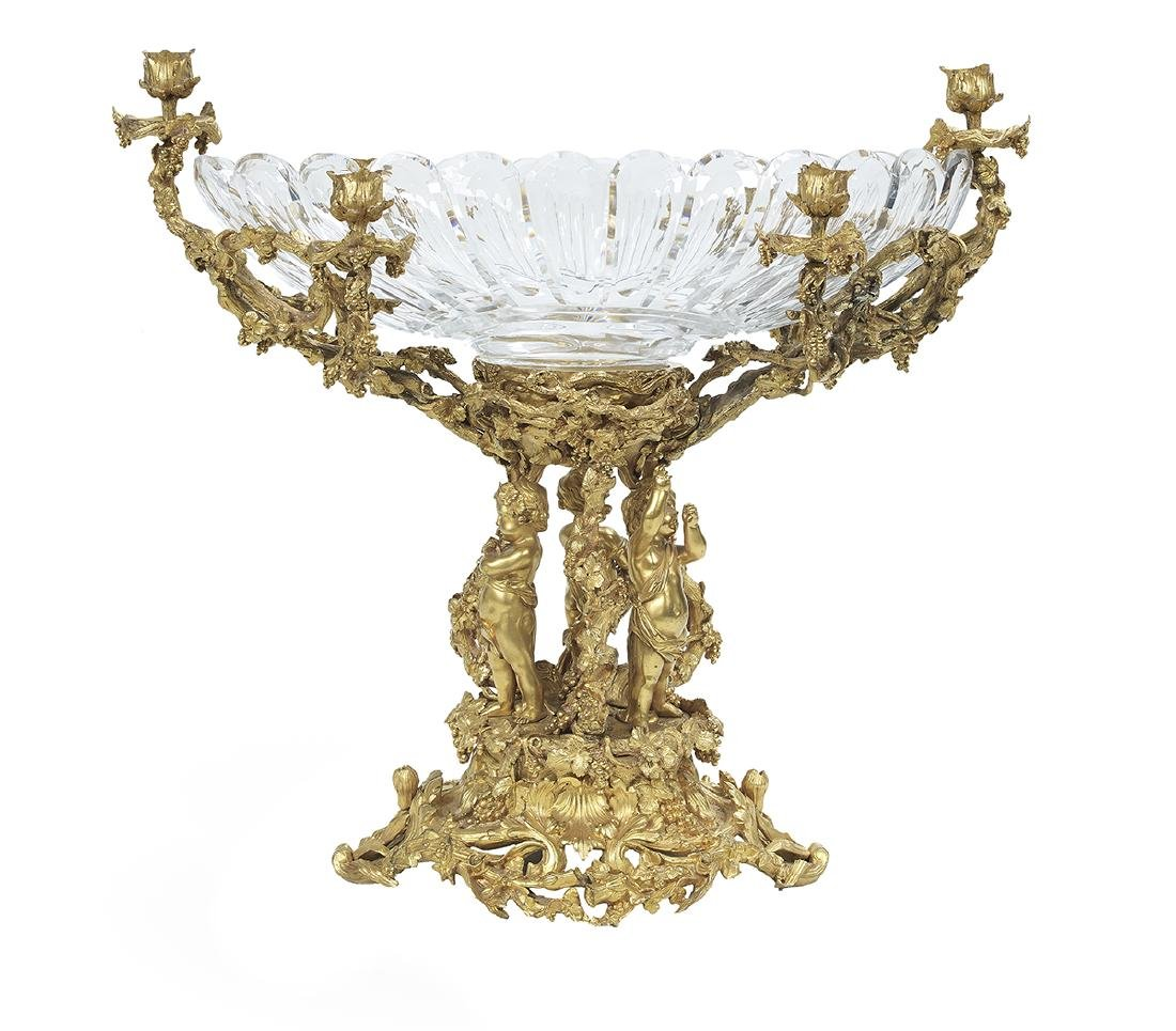 French Gilt-Bronze and Cut Glass Centerpiece - 3