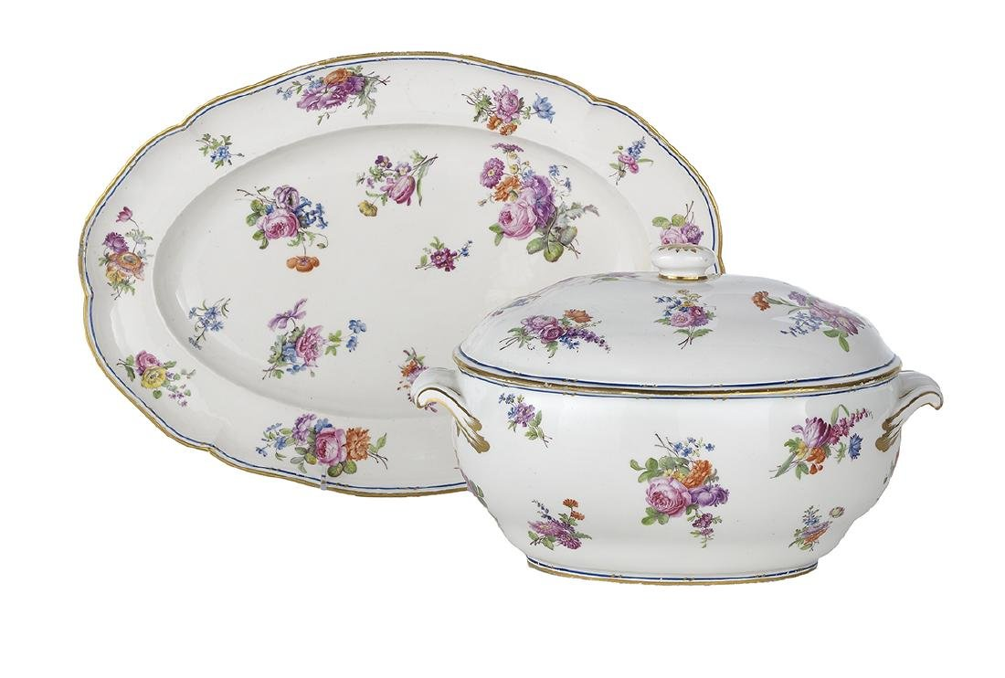 French Sevres Porcelain Tureen and Under Tray