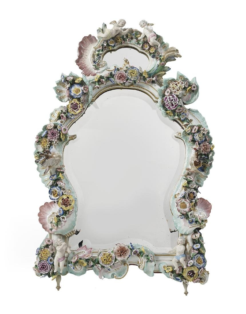 German Meissen-Style Porcelain Dressing Mirror