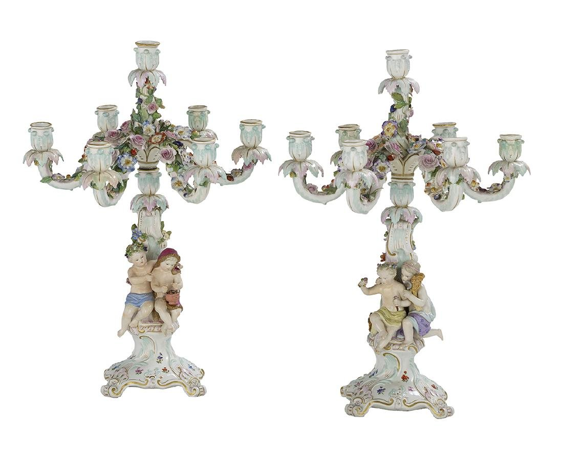 "Pair of German Meissen ""Four Seasons"" Candelabra"