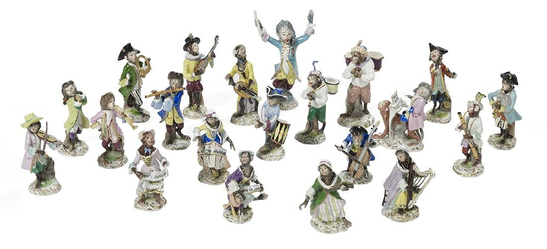 "Assembled 21-Piece Porcelain ""Monkey Band"""