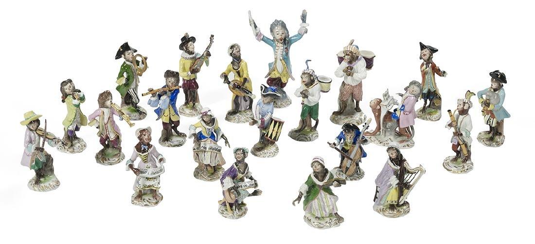 "Assembled 21-Piece Porcelain ""Monkey Band"""