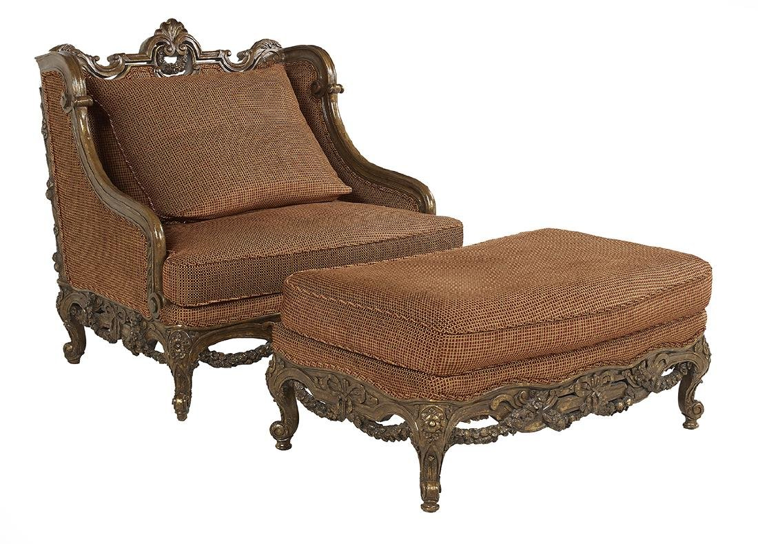 Carved and Polychromed Settee and Ottoman