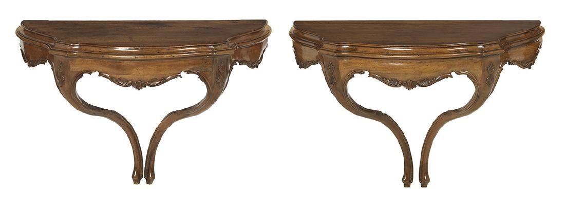 Two Louis XV Walnut Console Tables