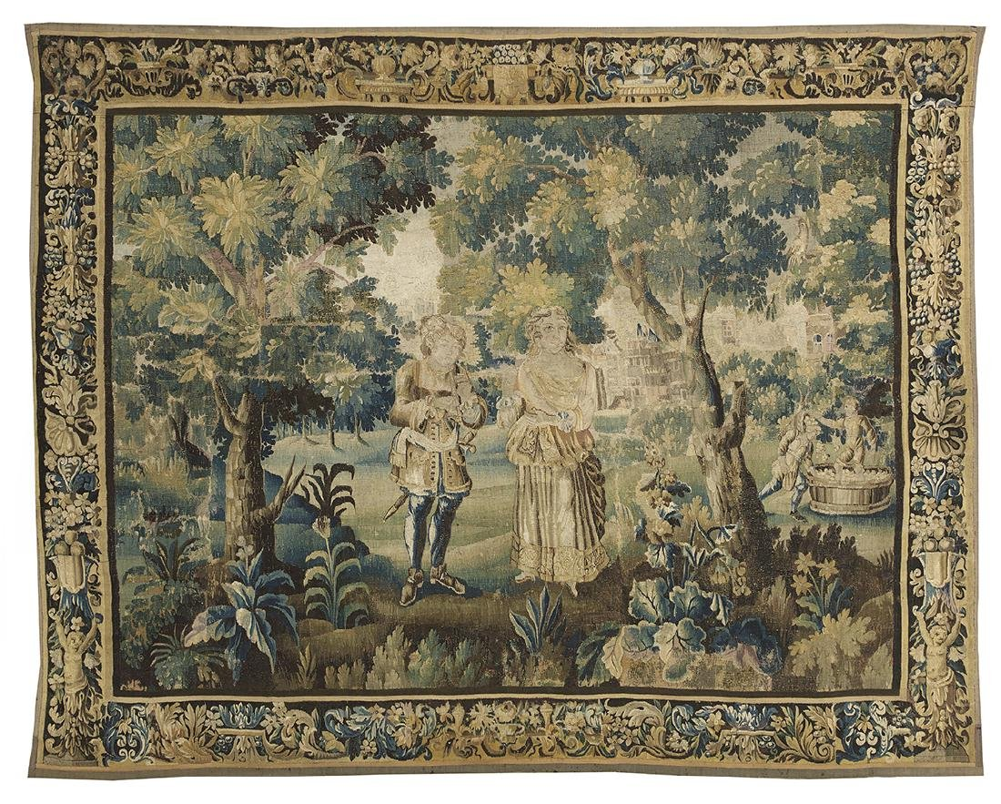 Flemish Handwoven Tapestry of a Courting Couple