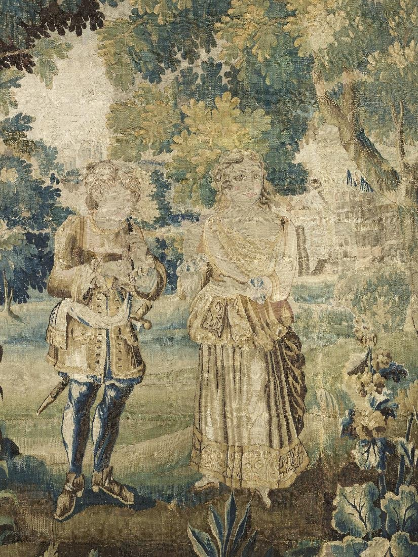 Flemish Handwoven Tapestry of a Courting Couple - 2
