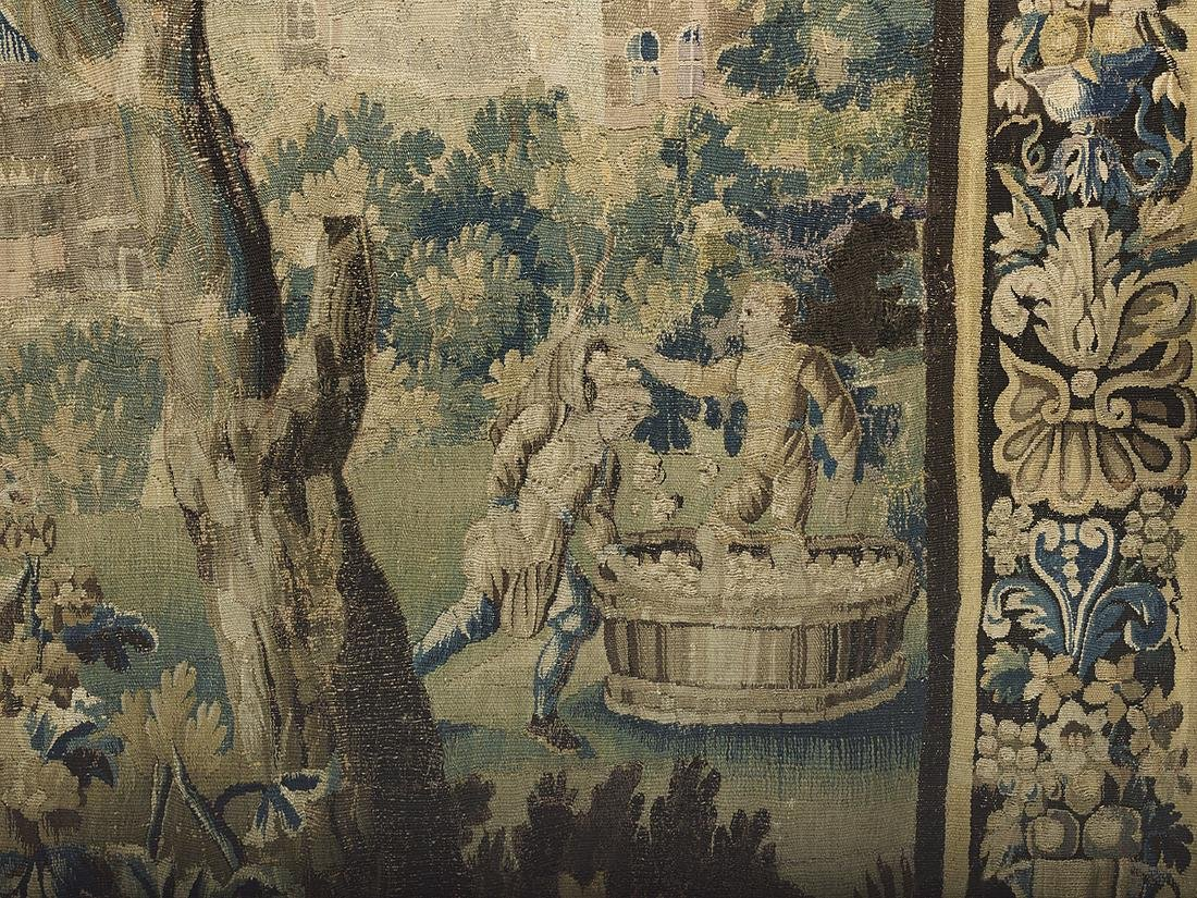 Flemish Handwoven Tapestry of a Courting Couple - 3