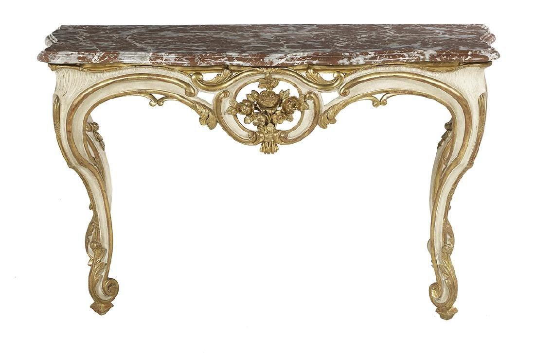 Louis XV-Style Marble-Top Side Table