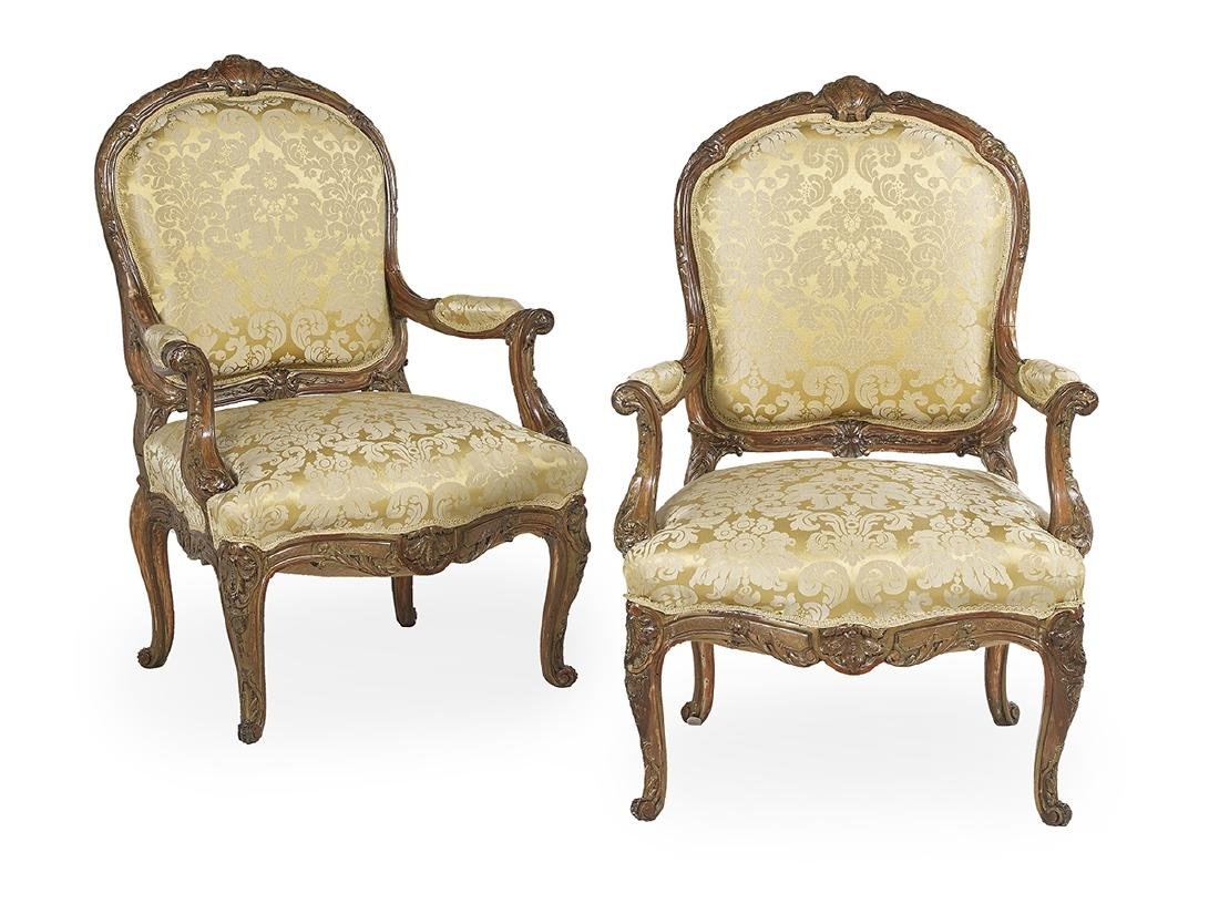 Pair of Louis XV-Style Polychrome Fauteuils