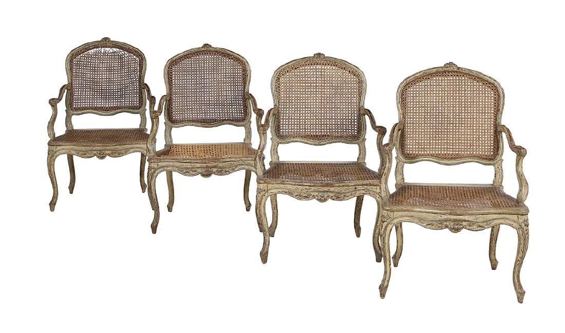 Suite of Four Louis XV Polychrome Fauteuils