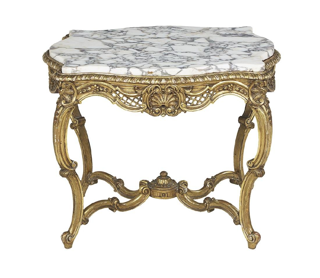 Louis XV-Style Marble-Top Occasional Table
