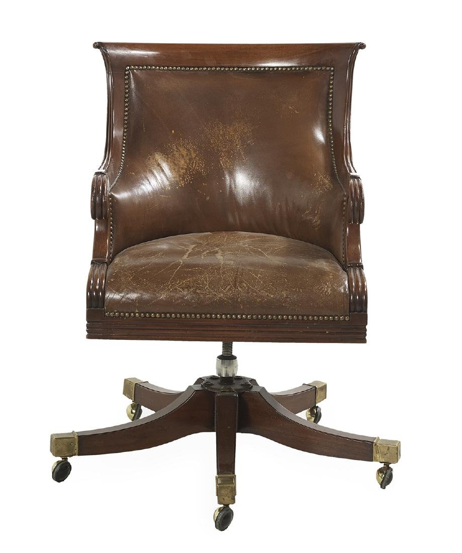 Regency Mahogany and Leather Swivel Desk Chair