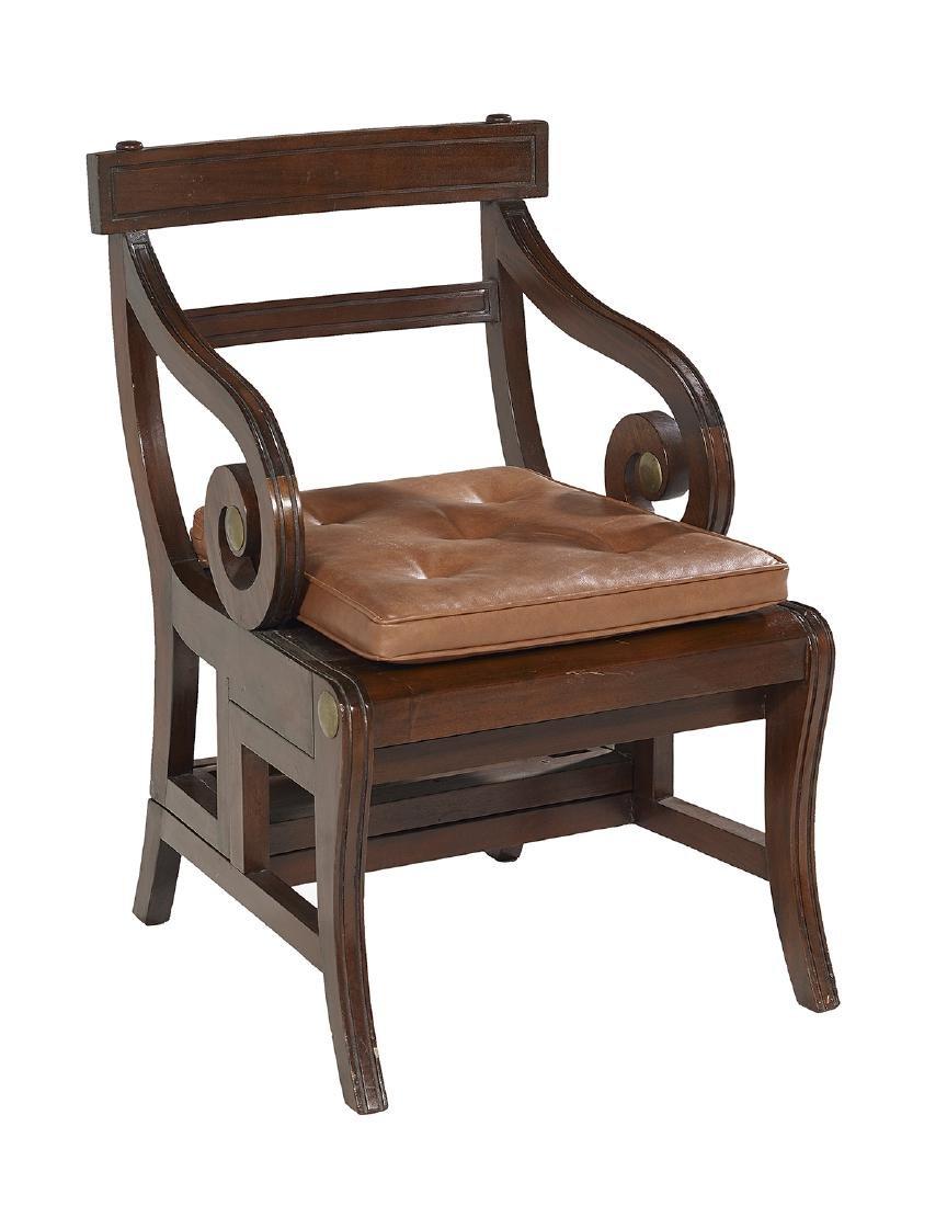 Regency-Style Mahogany Metamorphic Library Chair