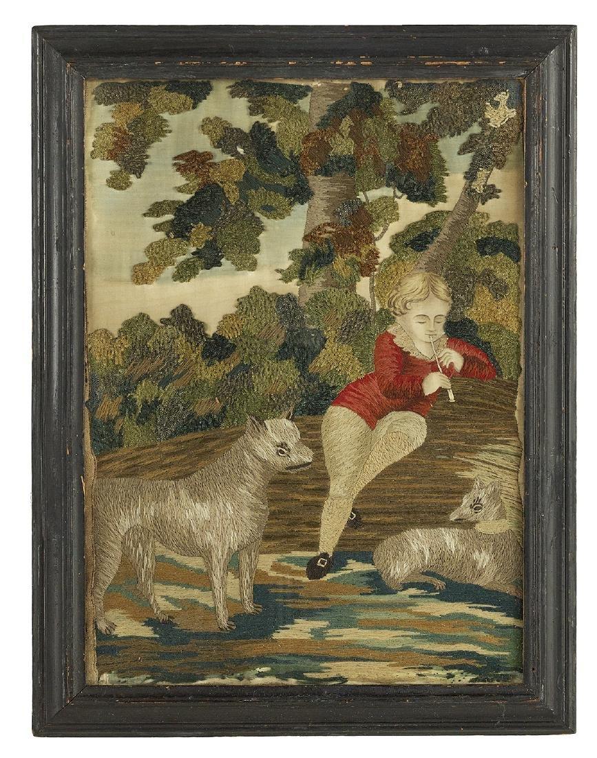 Pair of George III Needlework Pictures - 3