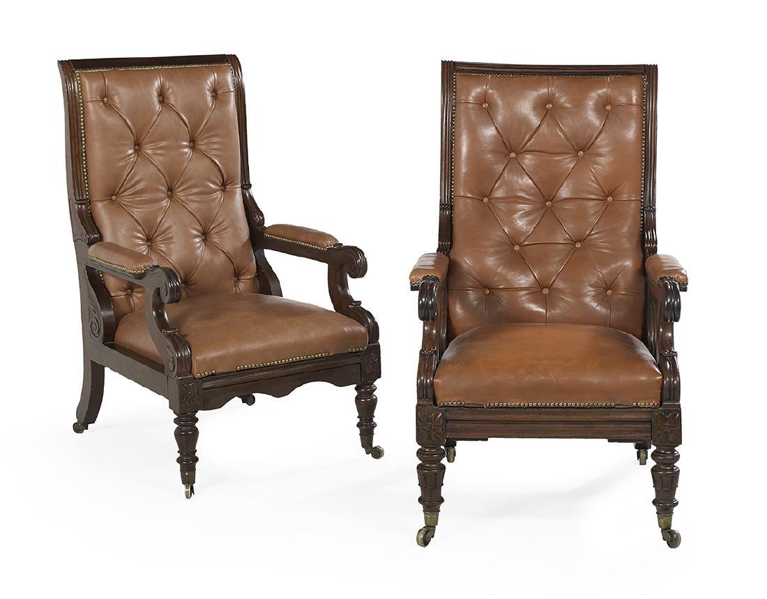 Near Pair of Regency Mahogany Library Chairs
