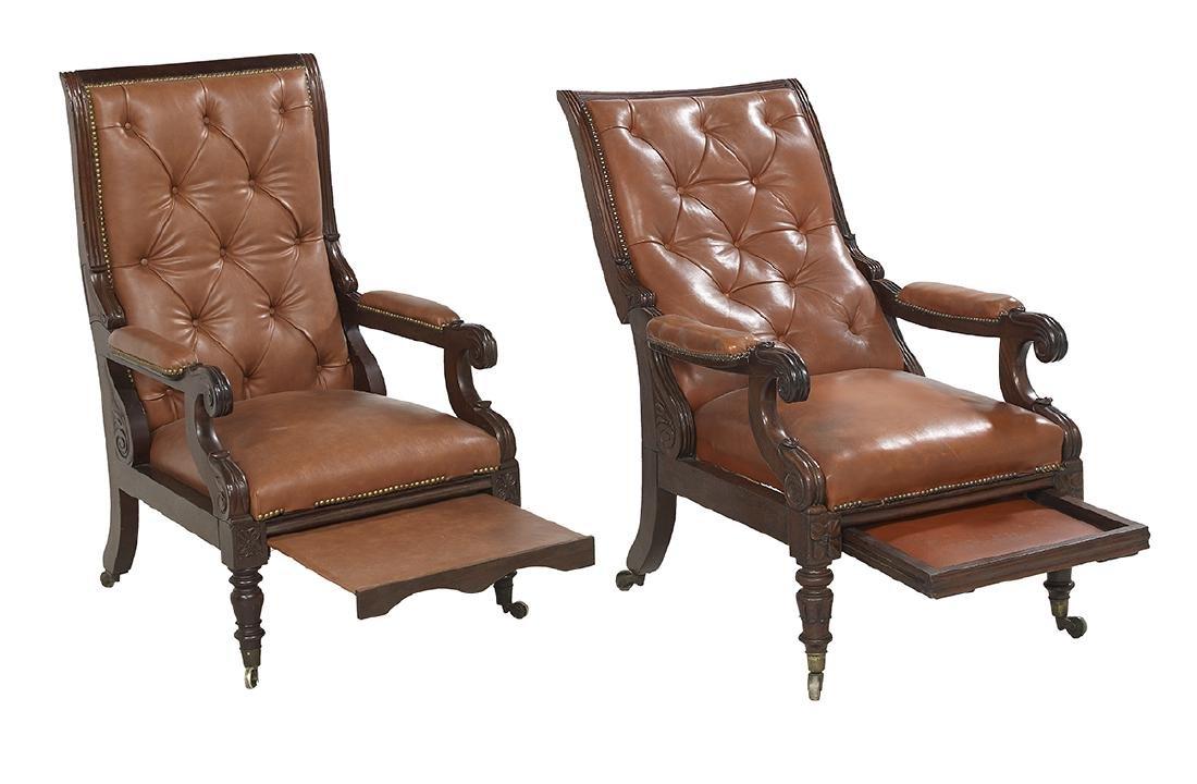 Near Pair of Regency Mahogany Library Chairs - 2