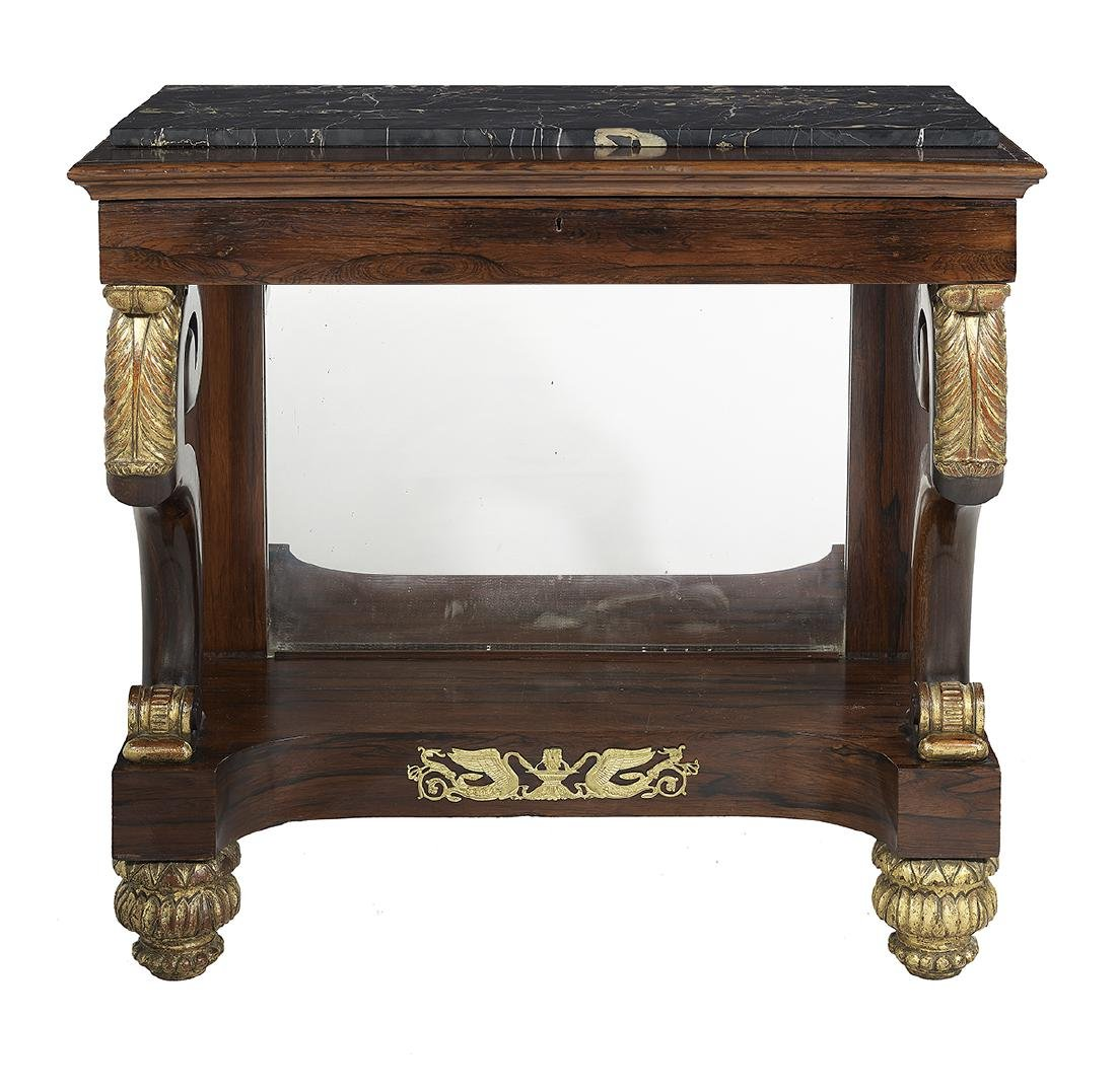 Regency Parcel-Gilt Marble-Top Pier Table