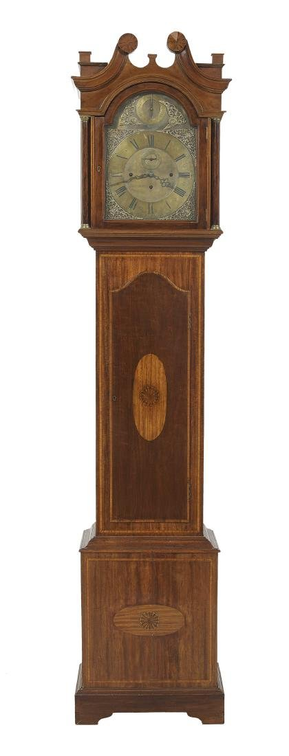 Edwardian Inlaid Mahogany Tall Case Clock