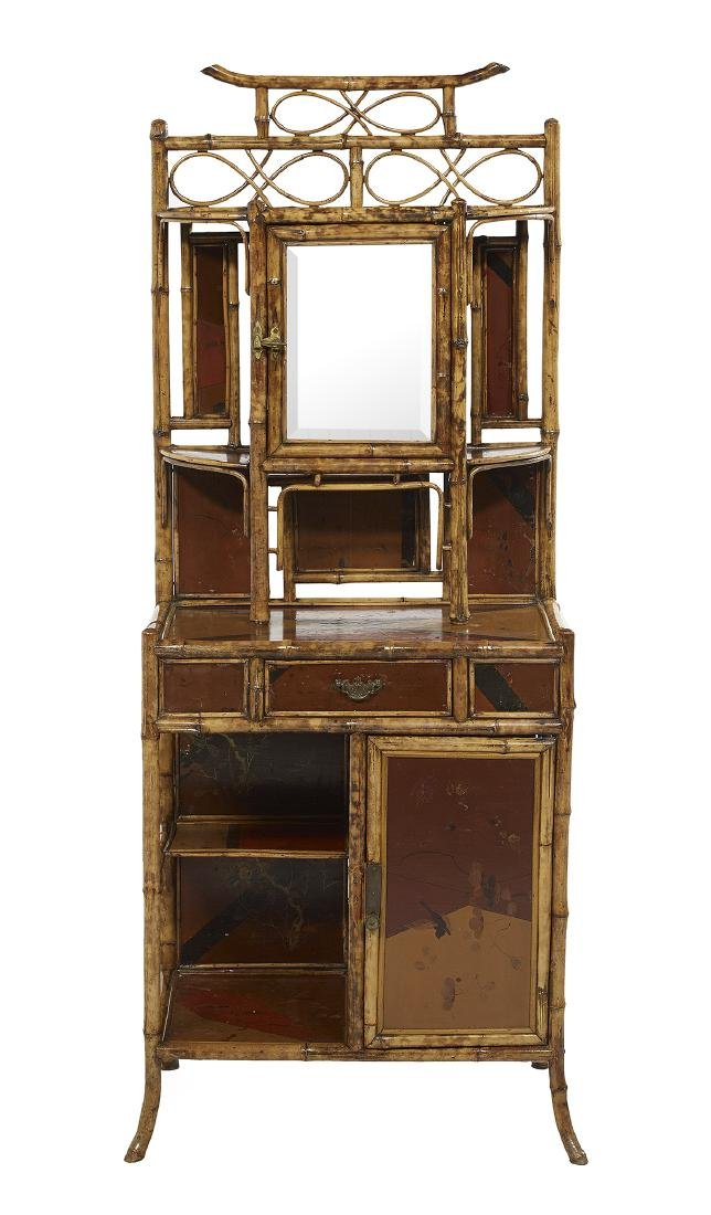 Anglo-Indian Bamboo and Lacquered Etagere