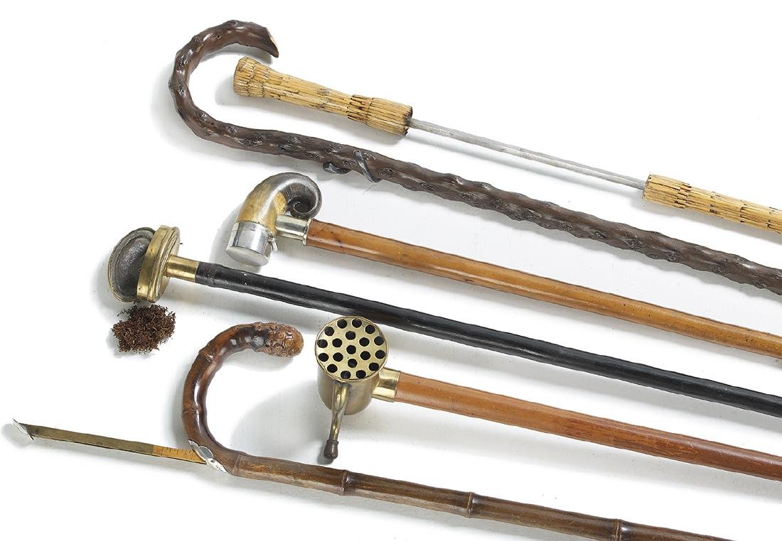Six Edwardian and Later Specialty Walking Sticks