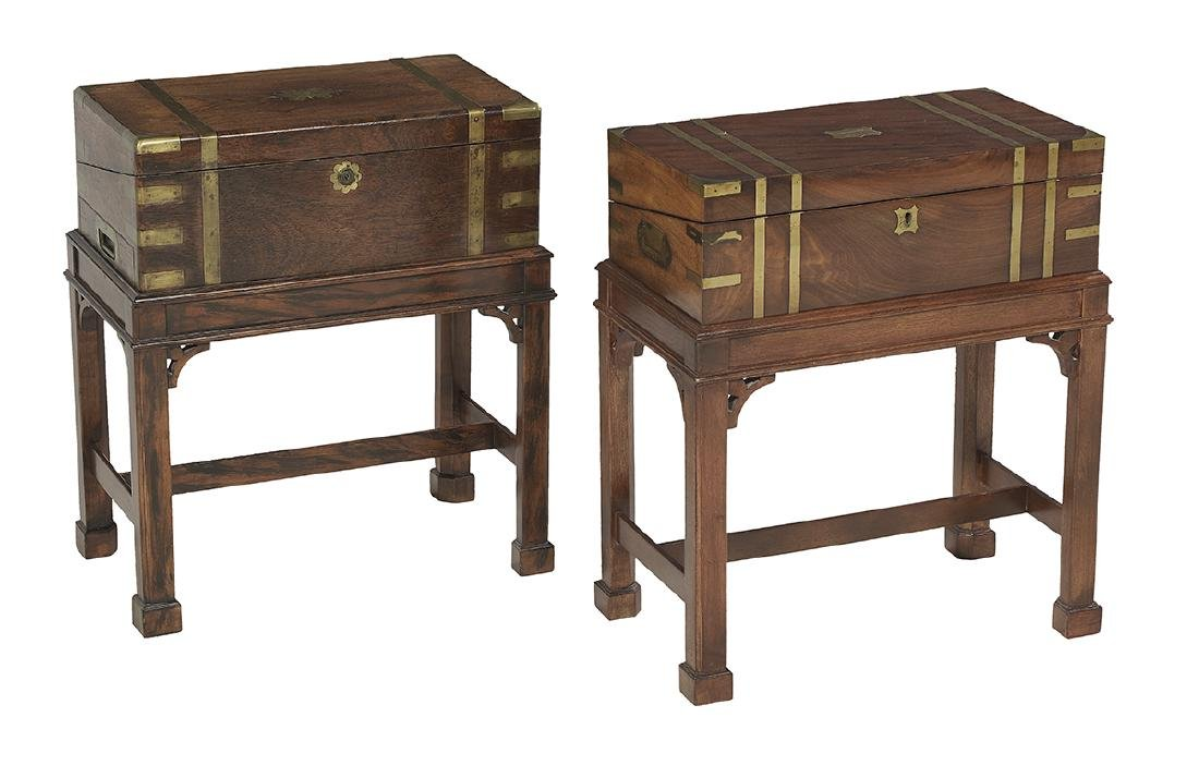 2 Victorian Writing Slopes Mounted as Side Tables