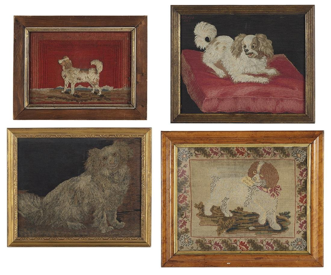 Four Embroideries of Spaniels and Other Dogs