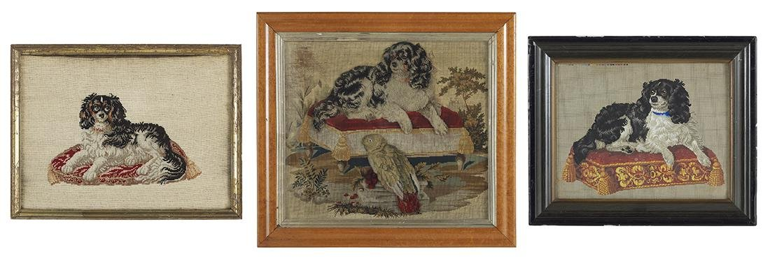 Two Berlin Woolwork Embroideries of Dogs