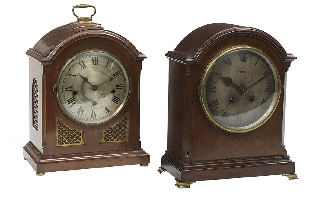 Two Edwardian Mahogany-Cased Bracket Clocks