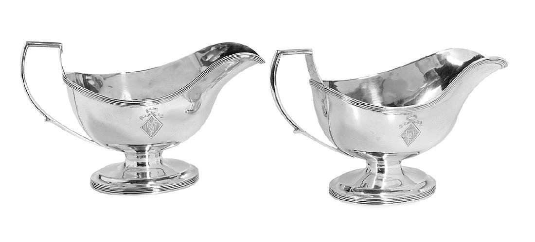 Pair of Regency Sterling Silver Sauceboats
