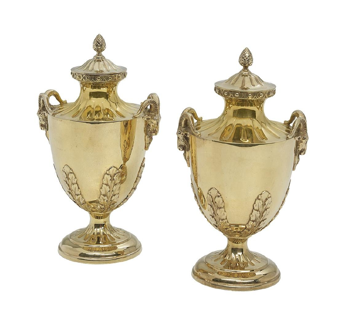 Pair of George V Sterling Silver Gilt Small Urns