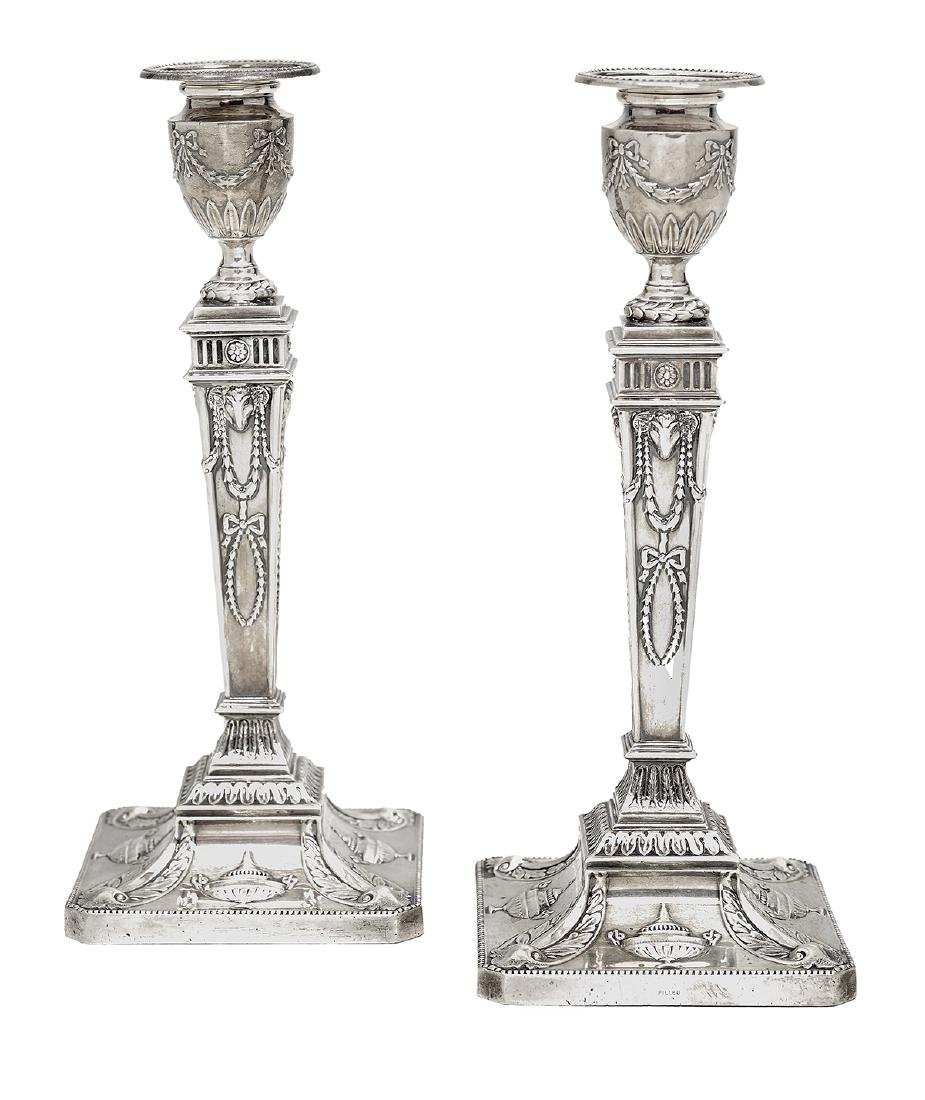 Pair of George V Sterling Silver Candlesticks