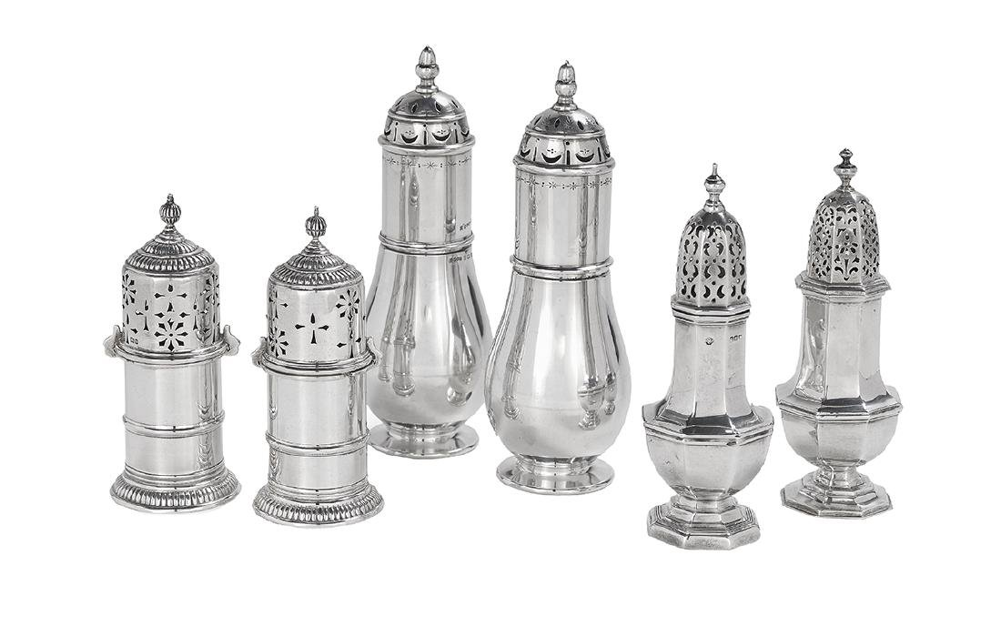 Six Edwardian and Later Sterling Silver Casters