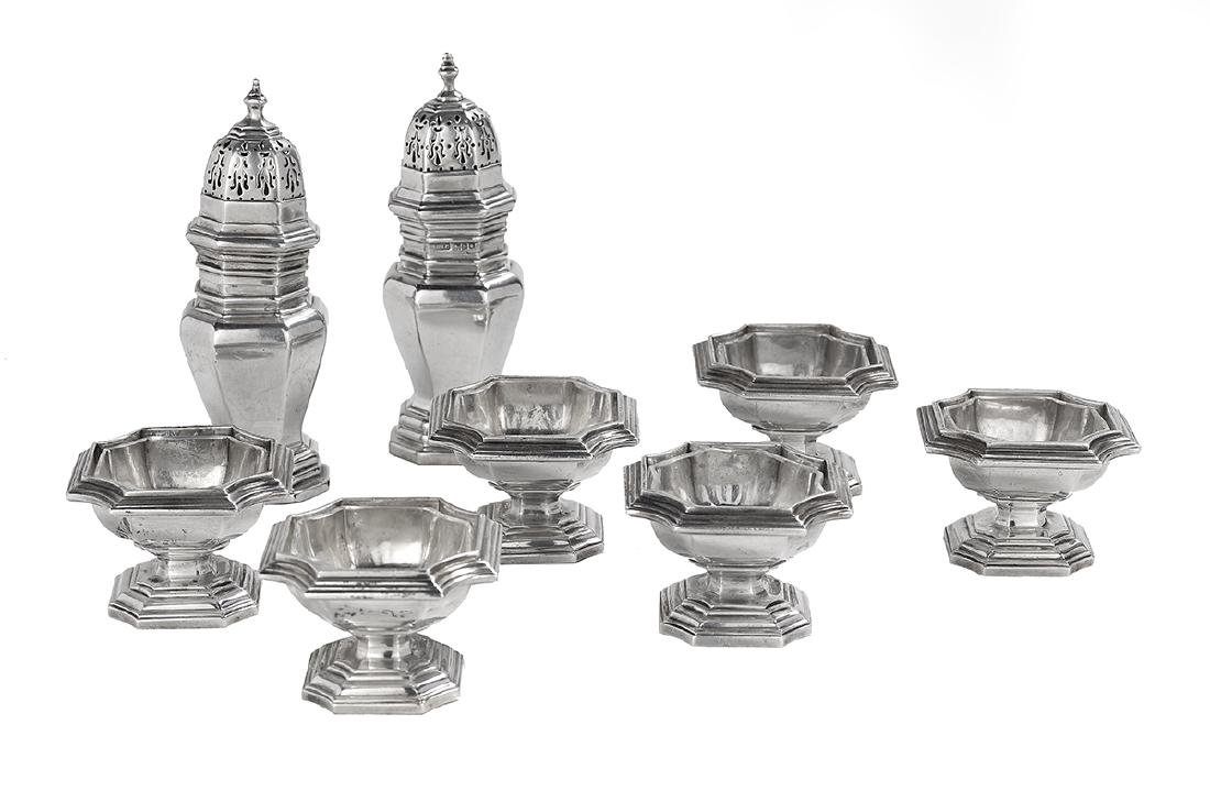 Assembled George V Silver Salt and Pepper Service