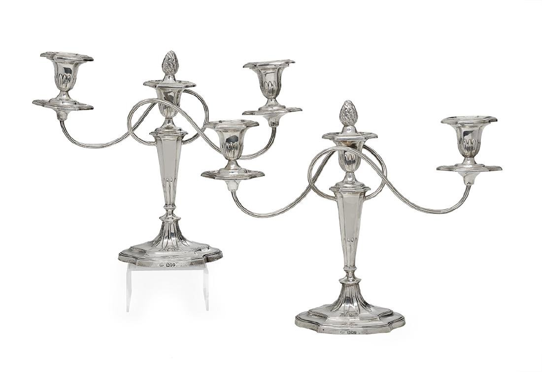 Pair of George VI Sterling Silver Candelabra