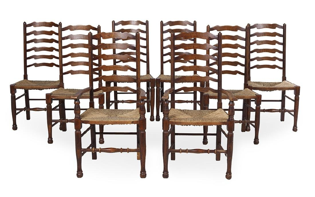 Suite of Eight English Beech Dining Chairs