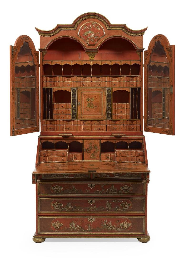 Queen Anne-Style Polychrome Secretary - 2
