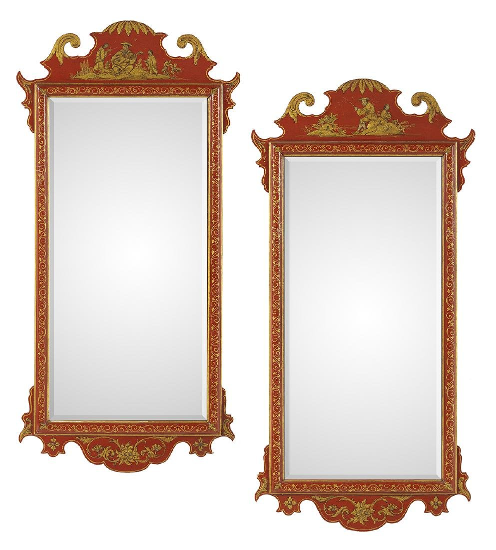 Pair of English Chinoiserie Painted Mirrors