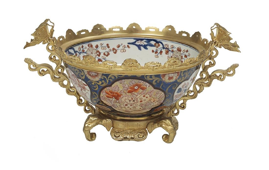 Chinese Imari Porcelain Bowl with Ormolu Mounts
