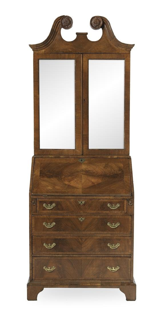 George III Mahogany and Walnut Secretary