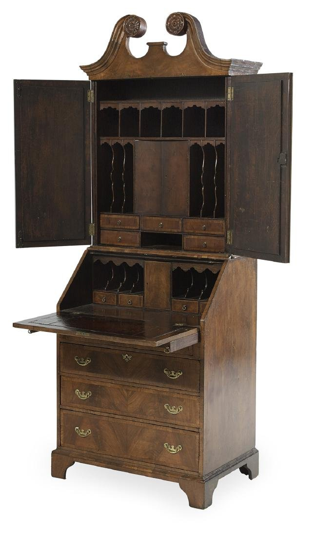 George III Mahogany and Walnut Secretary - 2