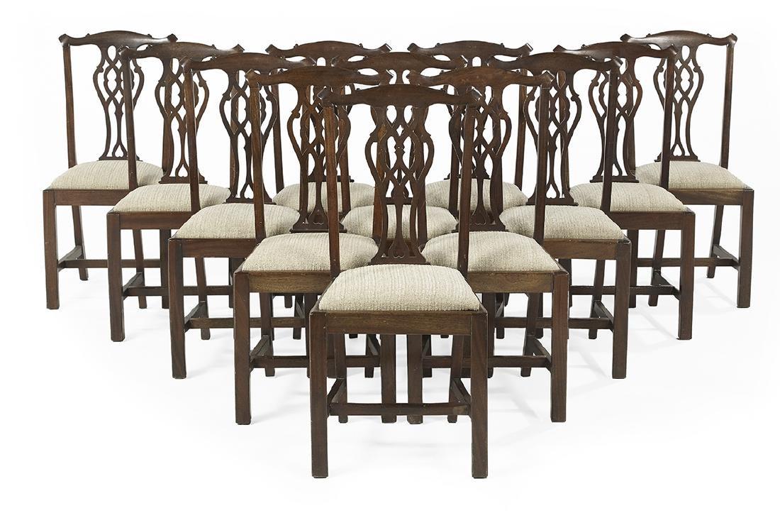 Twelve George III-Style Mahogany Dining Chairs
